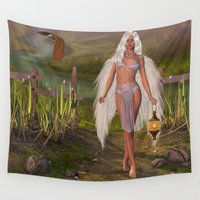 angels Wall Tapestries featuring Angels Way by Simone Gatterwe