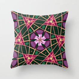 Purple Passion Floral pattern Throw Pillow