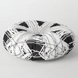 Black & white rattan pattern w/ peekaboo pink and green strings Floor Pillow