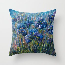 Countryside Irises Oil painting with palette knife Throw Pillow