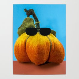 Pumpkin handmade from felted wool for celebration of Halloween Poster
