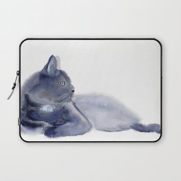 """The queen has arrived"" Expressive Cat Watercolor Painting Laptop Sleeve"