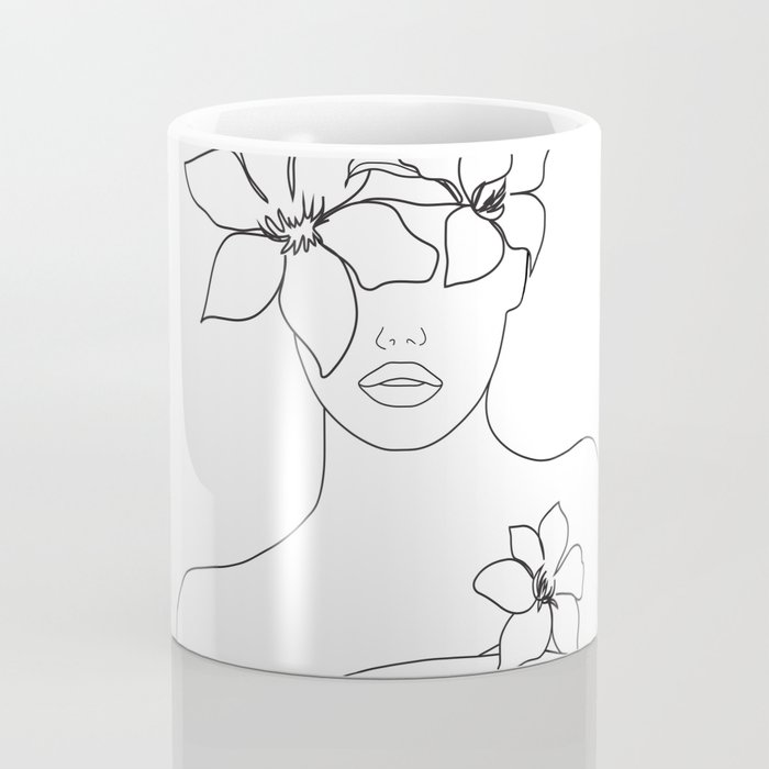 Minimal Line Art Woman with Flowers IV Kaffeebecher