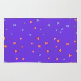 St. Valentine's Day Pattern. Lilac pattern, Violet and Orange hearts Rug