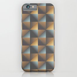 Industrial Urban Geometric Pattern in Burnished Gold & Steel Blue iPhone Case