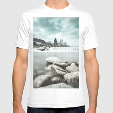 Waterfall on Sora river, Medvode White MEDIUM Mens Fitted Tee
