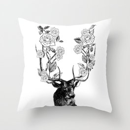 The Stag and Roses | Black and White Throw Pillow