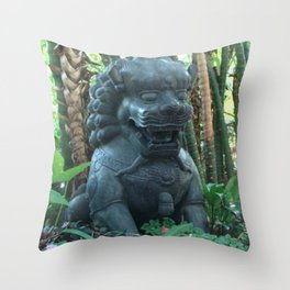Lion Statue in the Tropics Photography Throw Pillow