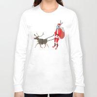 husky Long Sleeve T-shirts featuring Santa Husky by miba