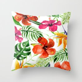 Tropical watercolor flowers pattern Throw Pillow