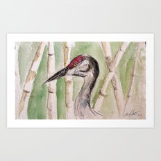 Head of Heron Art Print