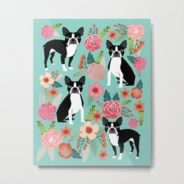 Floral Boston Terrier cute flowers spring bouquet love valentines day black and white mint dogs Metal Print
