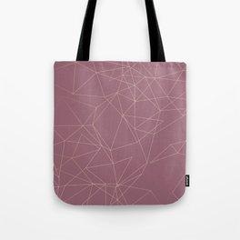 Rose Gold Geometrical Print on Dusty Rose Tote Bag