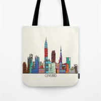 cleveland Tote Bags featuring Cleveland city  by bri.buckley