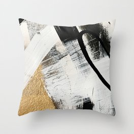 Armor [9]: a minimal abstract piece in black white and gold by Alyssa Hamilton Art Throw Pillow