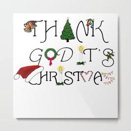 Thank God It's Christmas Consumer Irony Vector Metal Print