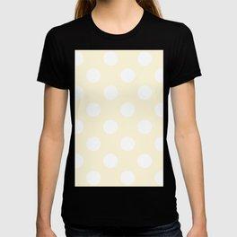 Large Polka Dots - White on Cornsilk Yellow T-shirt