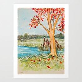 Fall Tree Near Pond Art Print