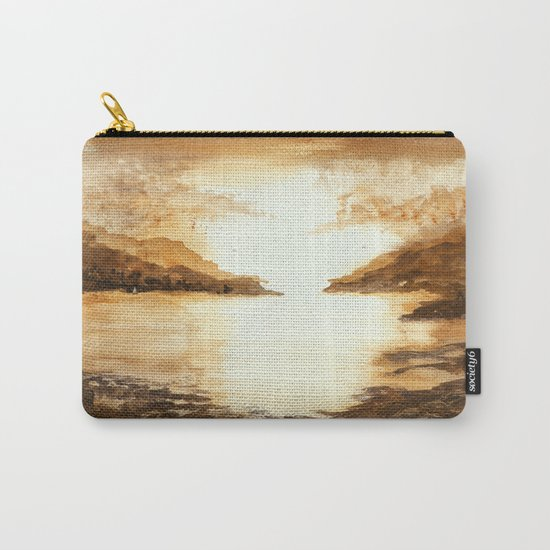 Golden Morn, Abstract Watercolor Landscape Art Water Nature Sky Carry-All Pouch