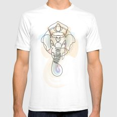 One Line Ganesh Mens Fitted Tee White SMALL