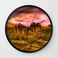 korea Wall Clocks featuring Sunrise in Korea by Anthony M. Davis