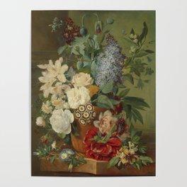 Albertus Jonas Brandt - Flowers in a terra cotta vase Poster