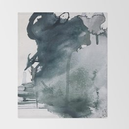 Lakeside: a minimal, abstract, watercolor and ink piece in shades of blue and green Throw Blanket