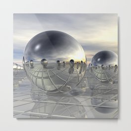 Reflecting 3D Spheres Metal Print