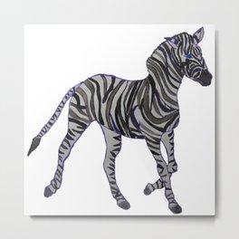 The Purple Zebra Metal Print