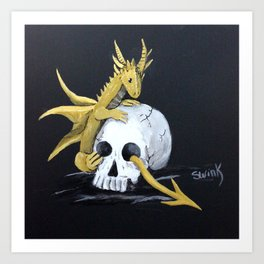 Gold Dragon & Skull Art Print