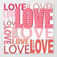 The Word Love In Red With Hearts Canvas Print