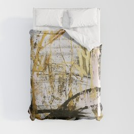 Armor [9]:a bright, interesting abstract piece in gold, pink, black and white Duvet Cover