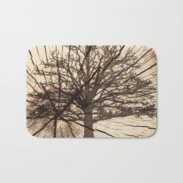 Tree shadow on wood Bath Mat