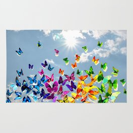 Butterflies in blue sky Rug