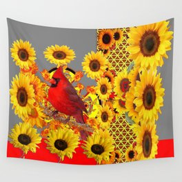 MODERN ABSTRACT RED CARDINAL YELLOW SUNFLOWERS GREY ART Wall Tapestry