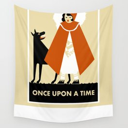 Naive art deco Little Red Riding Hood Wall Tapestry