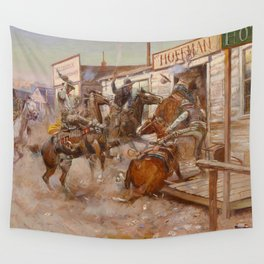 """""""In Without Knocking"""" by Charles M Russell Wall Tapestry"""