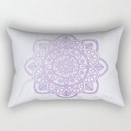 Lavender Mandala on White Marble Rectangular Pillow