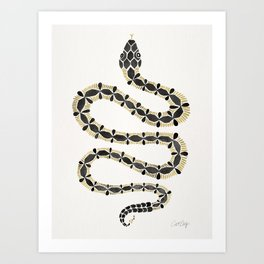 Serpent – Black & Gold Art Print