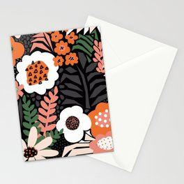 Modern Flower Field Pattern Red Green Black White Large Stationery Cards
