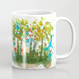Silent Woods, Abstract Watercolors Landscape Art Coffee Mug