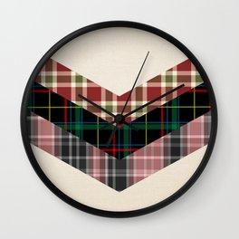 Ivory black pink marsala red geometrical chevron plaid pattern Wall Clock