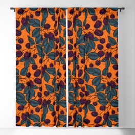 Blackberry hand- drawn pattern Blackout Curtain
