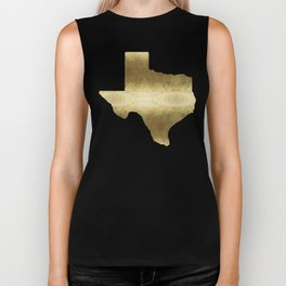 texas gold foil print state map Biker Tank