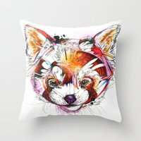red panda Throw Pillows featuring Red Panda  by Abby Diamond