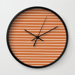 Colorful Stripes, Burnt Orange and White, Abstract Art Wall Clock