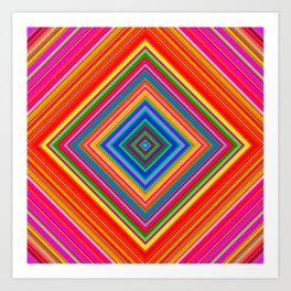 Rainbow Abstract Psychedelic Neon Dawn Triangle Design - Pink and  Orange Art Print