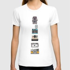 Camera Collection (Pink) LARGE Womens Fitted Tee White