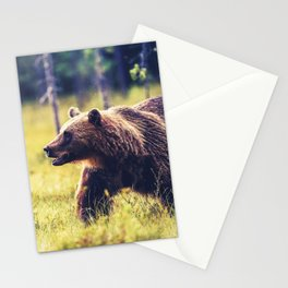 Magnificently Amazing Adult Brown Bear Roaming His Forestside Territory Ultra HD Stationery Cards