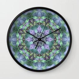 Ribbon Mandala in Blue and Purple Wall Clock